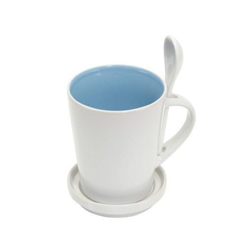 Cana ceramica cu lingurita si farfurioara - albastru