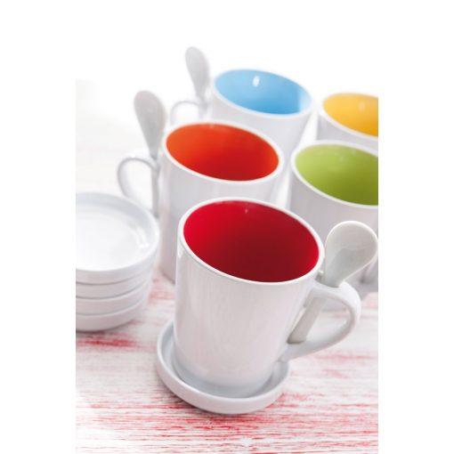 Cana ceramica cu lingurita si farfurioara - portocaliu