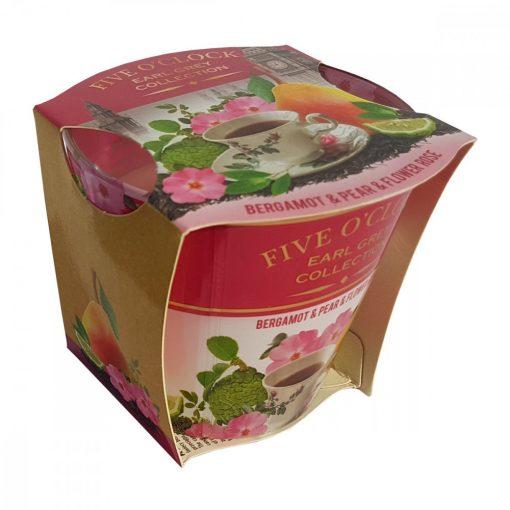 Lumanare Five O' Clock Bergamot & Pear & Flower Rose, 115 gr