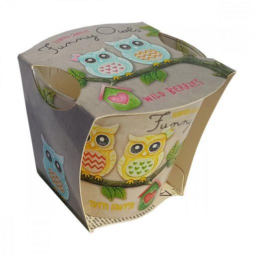 Lumanare Funny Owls Wild Berries, 115 gr