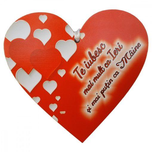 Tablita Te iubesc mai mult ca ieri, din lemn