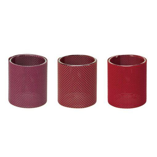 Suport lumanari rosu burgundy set 3 bucati CDT-655065