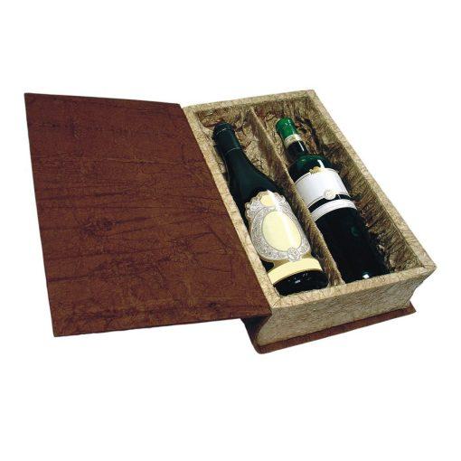 Cutie din carton cu hartie creponata pentru doua sticle de vin