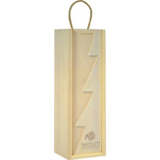 Cutie lemn cu motive de Craciun pentru o sticla de vin CDT-722A