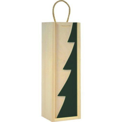 Cutie lemn cu motive de Craciun pentru o sticla de vin CDT-724A