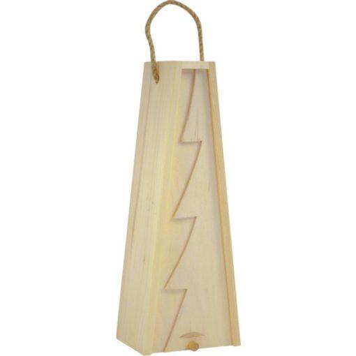 Cutie lemn triunghiulara cu motive de Craciun pentru o sticla de vin CDT-734A