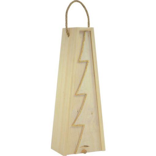 Cutie lemn triunghiulara cu motive de Craciun pentru o sticla de vin CDT-735A