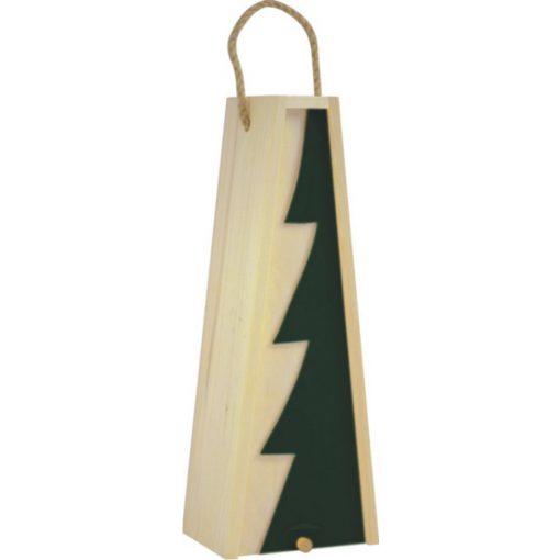 Cutie lemn triunghiulara cu motive de Craciun pentru o sticla de vin CDT-736A