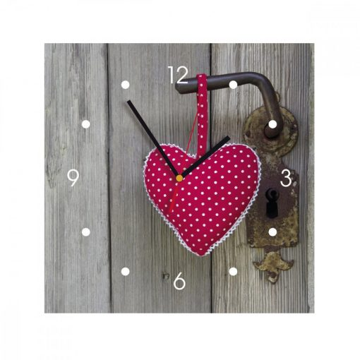 Ceas de perete din MDF - inimioara rosie - My Clock
