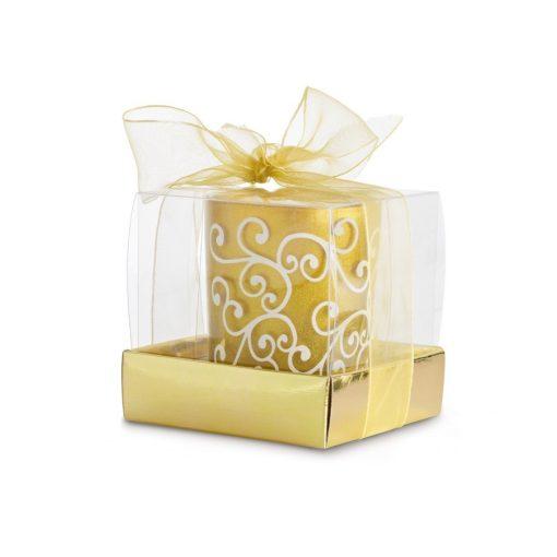 Lumanare decorativa in suport de sticla auriu