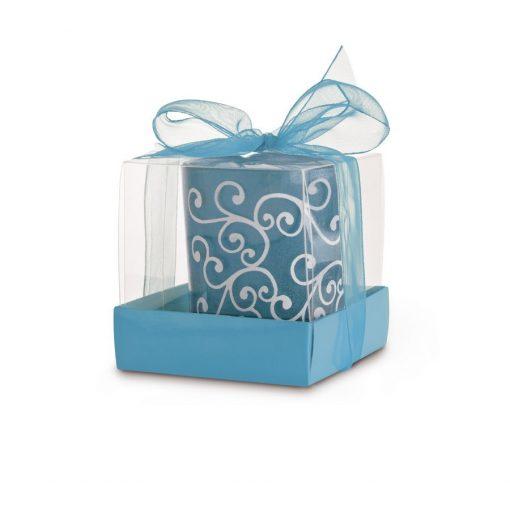 Lumanare decorativa in suport de sticla albastru