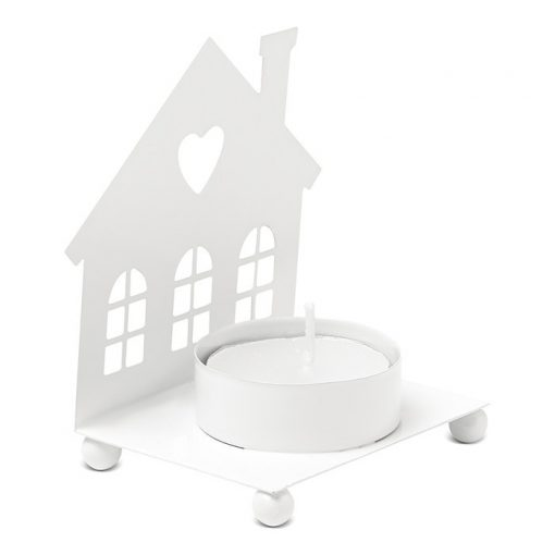 Suport lumanare in forma de casa - alb CDT-CX1418-06