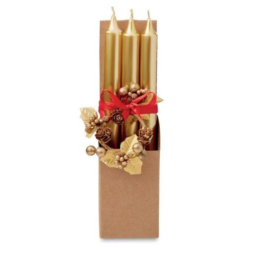 Set 3 lumanari aurii cu suport din sticla si decoratiune de Craciun