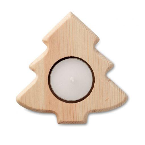 Suport lemn lumanare, bradut
