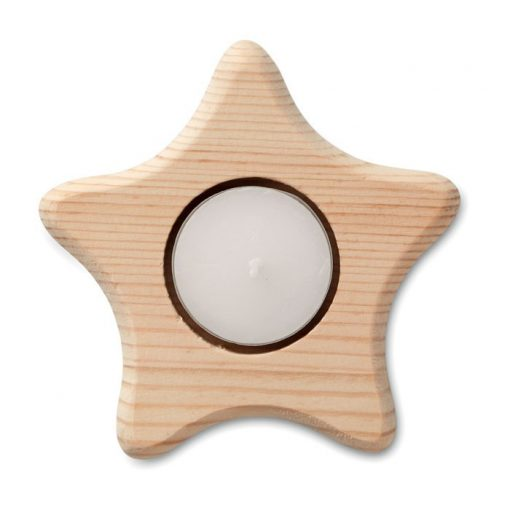 Suport lemn lumanare, stea