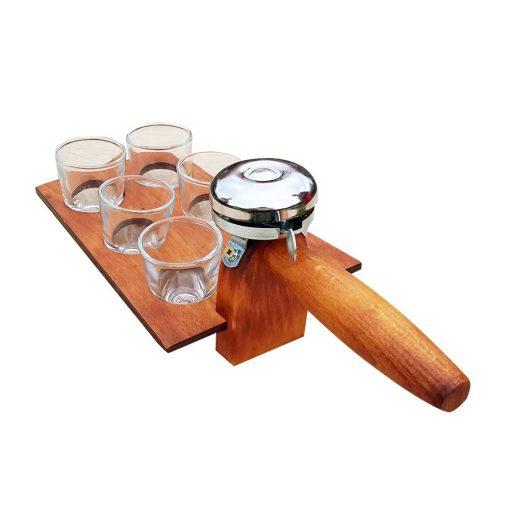 Suport din lemn model mistrie cu claxon si 6 paharute