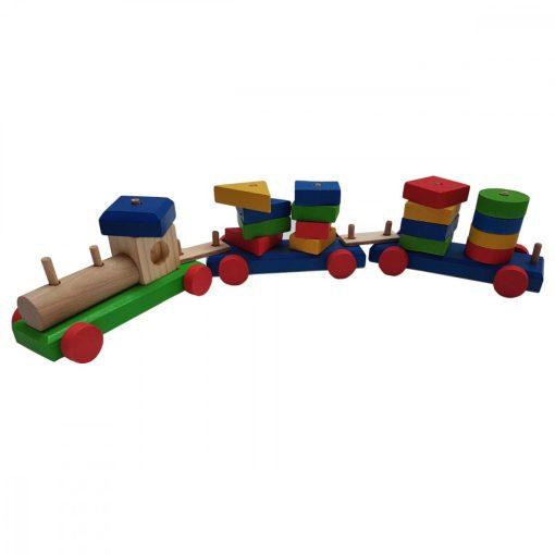 Tren cuburi lemn multicolore