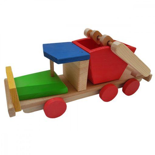 Jucarie masina de gunoi, Alexer, JL02, lemn, multicolor