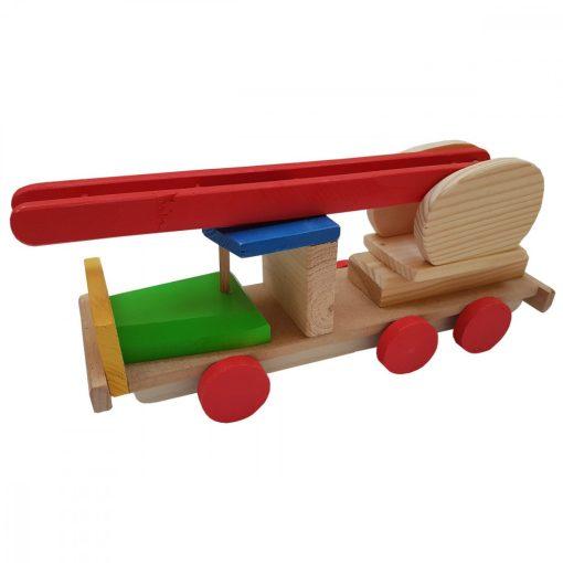 Jucarie masina de pompieri, Alexer, JL03, lemn, multicolor