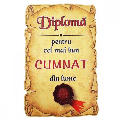 Magnet Diploma pentru cel mai bun CUMNAT din lume, lemn