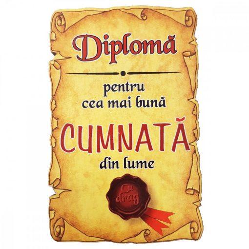 Magnet Diploma pentru cea mai buna CUMNATA din lume, lemn