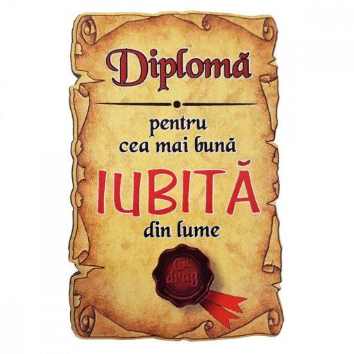 Magnet Diploma pentru cea mai buna IUBITA din lume, lemn