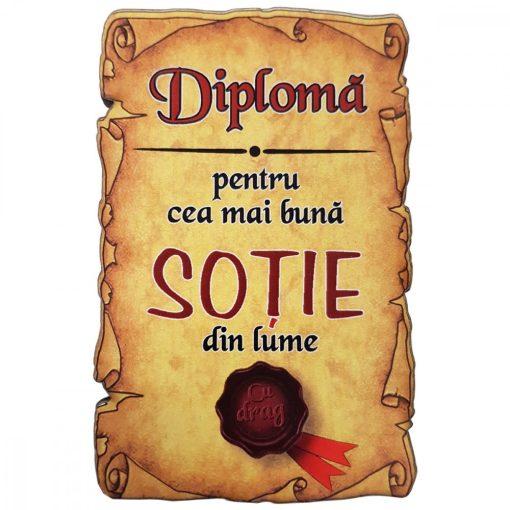 Magnet Diploma pentru cea mai buna SOTIE din lume, lemn