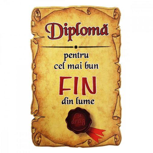 Magnet Diploma pentru cel mai bun FIN din lume, lemn