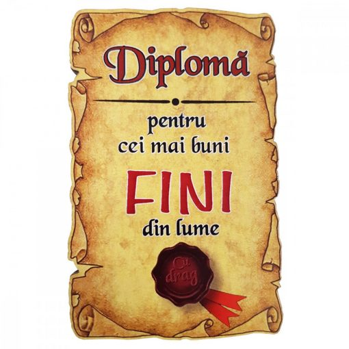 Magnet Diploma pentru cei mai buni FINI din lume, lemn