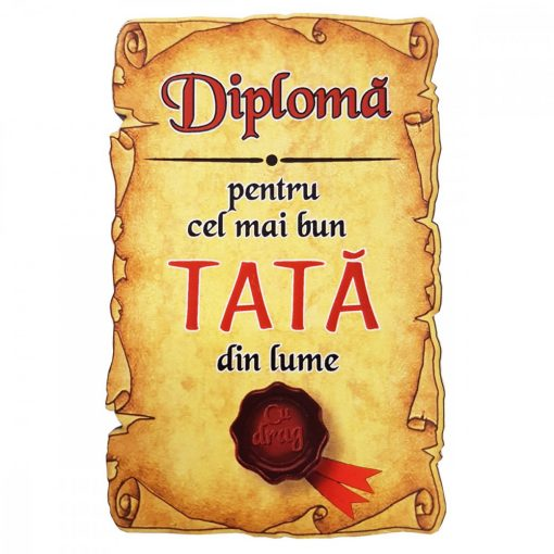 Magnet Diploma pentru Cel mai bun TATA din lume, lemn