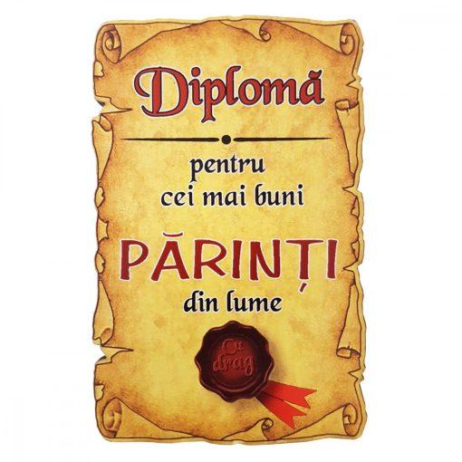 Magnet Diploma pentru Cei mai buni PARINTI din lume, lemn
