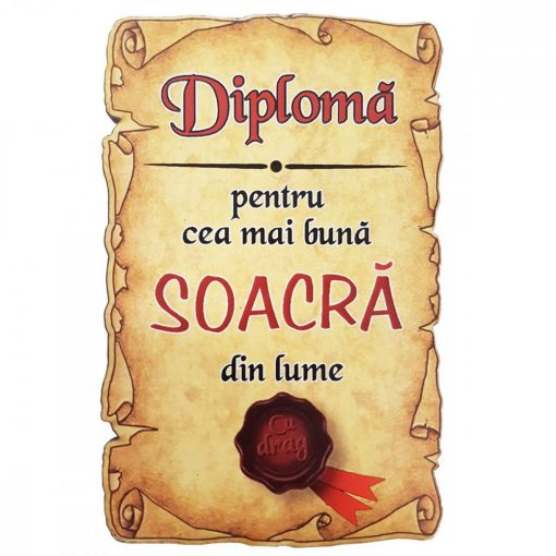 Magnet Diploma pentru Cea mai buna SOACRA din lume, lemn