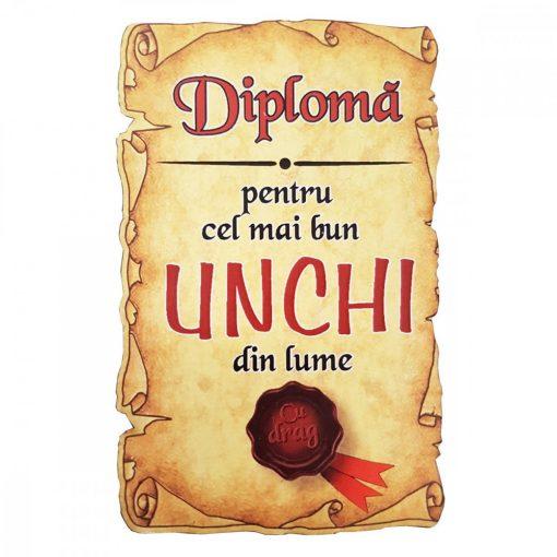 Magnet Diploma pentru Cel mai bun UNCHI din lume, lemn
