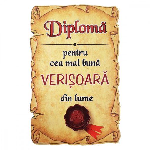 Magnet Diploma pentru Cea mai buna VERISOARA din lume, lemn