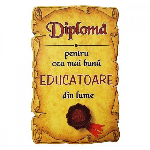 Magnet Diploma pentru Cea mai buna EDUCATOARE din lume, lemn
