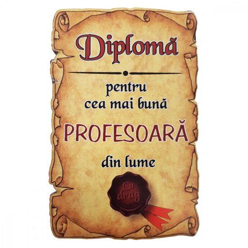 Magnet Diploma pentru Cea mai buna PROFESOARA din lume, lemn