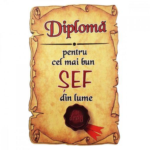 Magnet Diploma pentru Cel mai bun SEF din lume, lemn