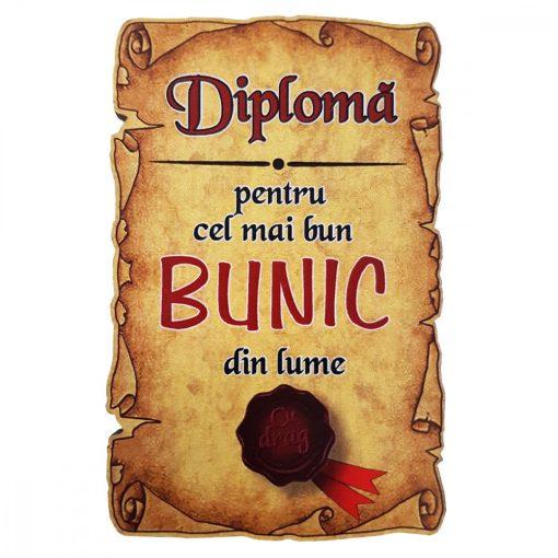Magnet Diploma pentru cel mai bun BUNIC din lume, lemn