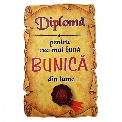 Magnet Diploma pentru cea mai buna BUNICA din lume, lemn