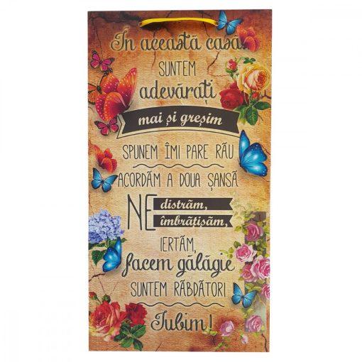 Tablou decorativ Regulile Casei, design floral, mdf