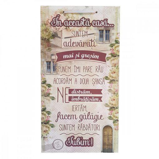 Tablou decorativ Regulile Casei, design vintage, mdf