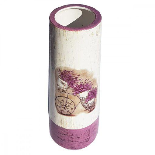 Vaza de flori cilindrica Bicicleta cu Lavanda, 25 cm
