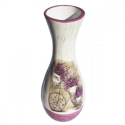 Vaza de flori ceramica Bicicleta cu Lavanda, 25 cm