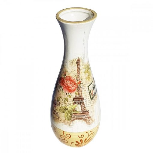 Vaza de flori ceramica Paris vintage, 20 cm