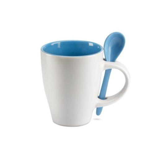 Cana ceramica cu lingurita alb-albastru