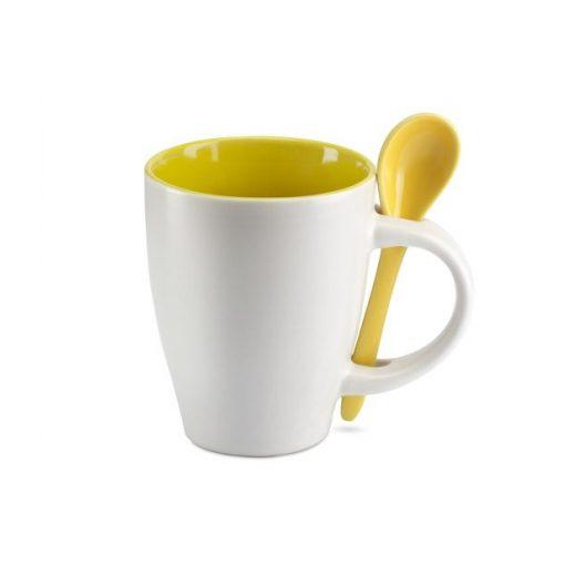 Cana ceramica cu lingurita alb-galben