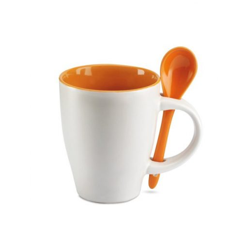 Cana ceramica cu lingurita alb-portocaliu