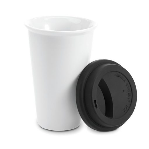 Cana de voiaj cu perete dublu, 275 ml, Everestus, CV06, ceramica, negru, saculet de calatorie inclus