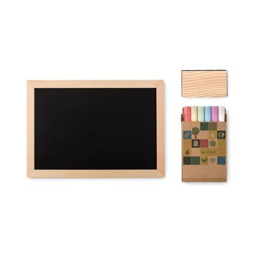 Tablita pentru desenat cu 6 crete colorate, lemn, Everestus, PE1, natur, saculet de calatorie inclus