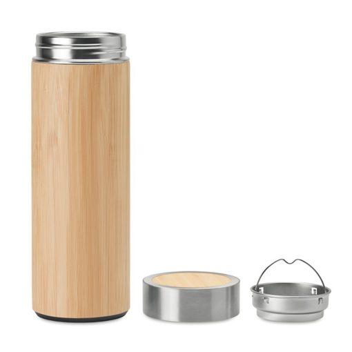 Termos 400 ml, perete dublu, bambus, otel inoxidabil, Everestus, TE10, natur, saculet de calatorie inclus